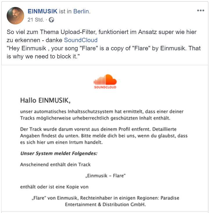 Aktuelle Probleme mit Filtersystemen. Quelle: Facebook Einmusik