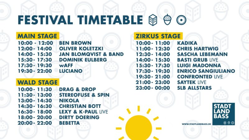 Stadt Land Bass 2019 Timetable