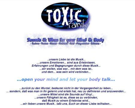 Die Startseite der Toxic Family Homepage 1999.